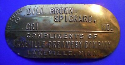 Milk Can Nameplate Return to Bill Brown Spickard Mo Lakeville Creamery Minn