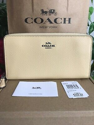 Authentic Coach Pebble Leather Accordion Zip Wallet SV/Vanilla F16612 $250