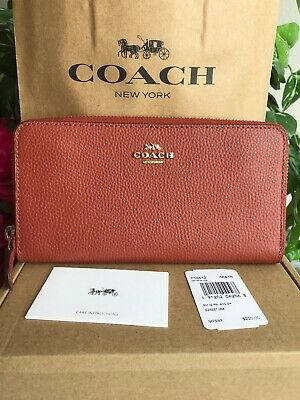 Coach Polished Pebble Leather Accordion Zip Wallet F16612  color Terracotta $250