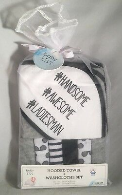 Boys Hooded Towel & 6 Washcloths Gift Set Navy Blue Gray, Bath Shower Baby (L24)
