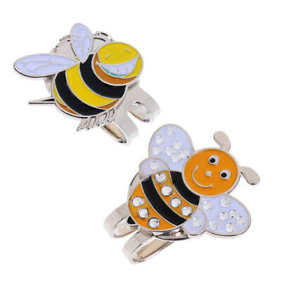 Lovoski 2x Portable Bee Alloy Golf Ball Marker with Magnetic Golf Hat Clip