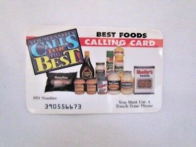 Best Foods Prepaid Calling Phone Card 1995 Vintage Collectible MINT