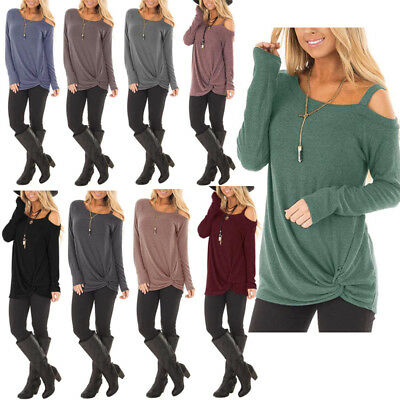US Womens Off the Shoulder Tunic Tops Long Sleeve Casual Blouse Shirts T-Shirt
