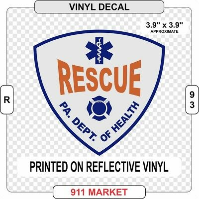 """STATE CERTIFIED RESCUE REFLECTIVE DECAL 4/"""" PA PENNSYLVANIA"""