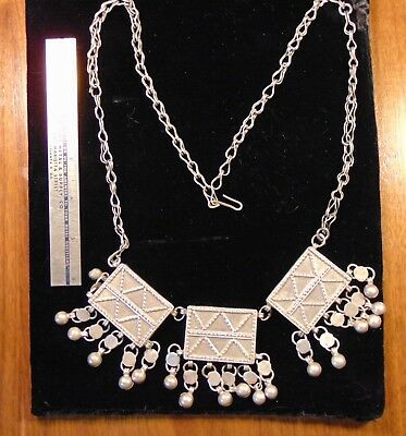 Antique hand crafted artisan  silver necklace