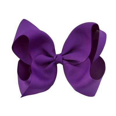 """NEW Baby Girls 6"""" Huge Boutique Hair Clip Grosgrain Ribbon Bows Kids Toddlers"""