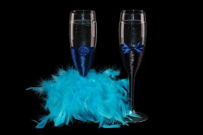 Wedding Champagne Glasses BLUE Mr and Mrs wedding gift Bride and Groom