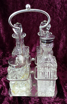 Antique Victorian 4 Piece Glass Cruet Set Silver Plated Stand A/F Robert Pringle