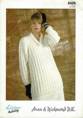 "LI5426 LADIES ARAN SWEATER & DK SKIRT KNITTING PATTERN 30-40""/76-102cm"