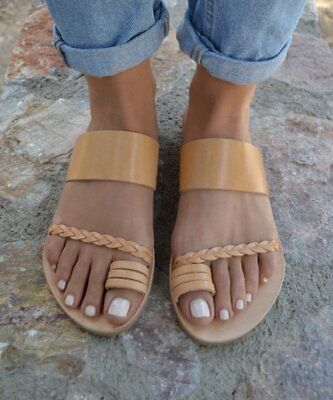 Ancient Greek style natural flat real leather slide sandals handmade braided