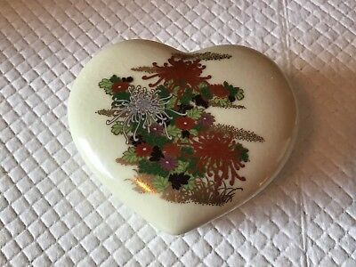 Beautiful Vintage Takahashi Porcelain Floral Heart Shaped Trinket Box Japan
