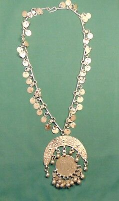 Artisan antique hand crafted silver necklace