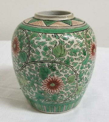 Antique Chinese Famille Verte Ming Style Painted Ginger Jar