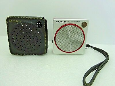 Vintage Miniature Red Sony 2R- 21 Transistor Radio with Handstrap and Case