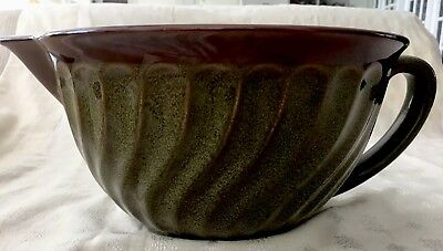 Paula Deen Stoneware Mixing Batter Bowl with Spout 4 Quart Green & Brown Swirl