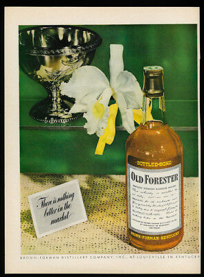 1944 Vintage Print Ad 40's OLD FORESTER kentucky bourbon whiskey bottle image