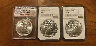 2016 P S W PSW Silver Eagle Complete Set MS70 ANACS / NGC