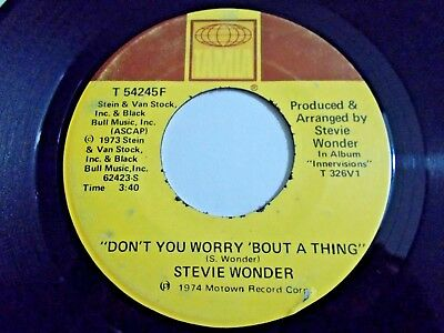 Stevie Wonder Don't You Worry Bout A Thing / Blame It On 45 1974 Vinyl Record