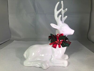 Vintage White Ceramic Reindeer Christmas Decor Figure