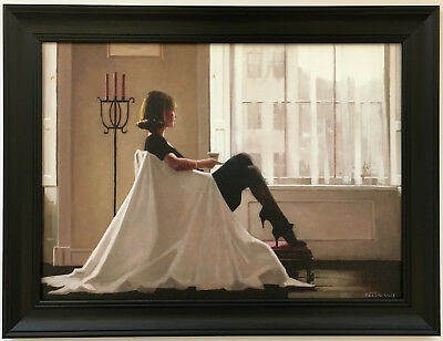 Jack Vettriano - In Thoughts of You Framed Canvas Effect Print 55cm x 42cm Black