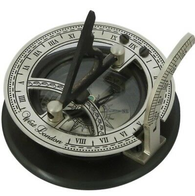 Solid Silver Sundial And Compass - Antique Inspired Design