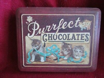 Purrfect Chocolates tin, featuring kittens, Keller-Charles of Philadelphia