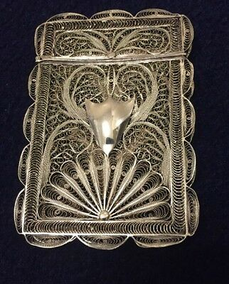 Superb Early Antique Silver Filigree Fine Calling Card Case
