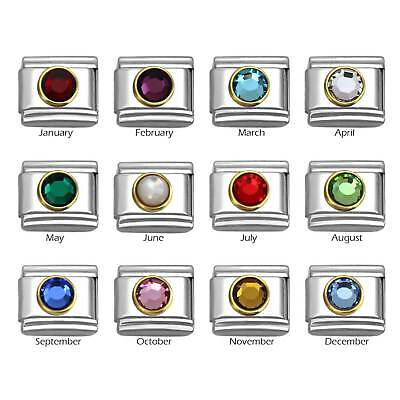 Birthstone with Gold Frame on 9mm Stainless Steel Italian Charm Bracelet Link