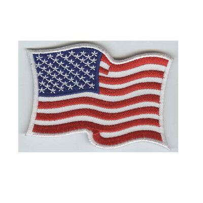 "American Flag Wavy Embroidered Iron On 3"" Patch USA Flag White Border FAST SHIP"