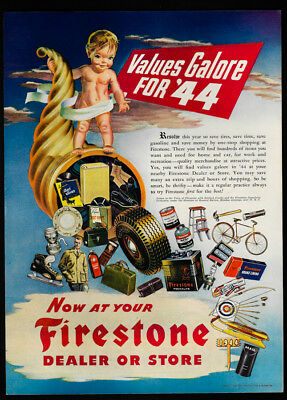 1944 Vintage Print Ad 40's FIRESTONE baby illustration tire art bicycle image
