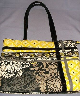 bb8c40abf8 Vera Bradley Quilted Black white grey lime Yellow Zippered Shopper tote