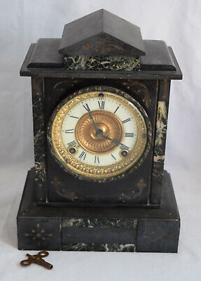Ansonia Clock Co Slate and Marble Mantel Clock - Working with Pendulem and Key