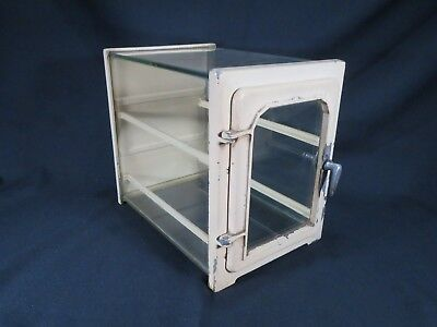 Vintage Metal Glass Full View Antiseptic Sterilizer Barber Counter Cabinet Case