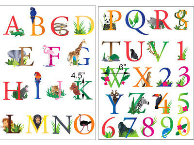 Large Zoo Animals Alphabet Wall Decals Kids Room Nursery Letters Numbers