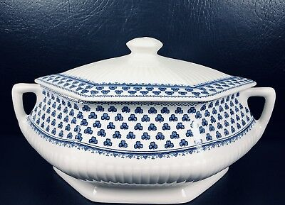 Adams Brentwood Covered Casserole With Lid & Handles Blue English Ironstone