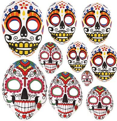 New Bulk Ladies Day Of The Dead Mexican Halloween Mask Men's Unisex Mask Job Lot