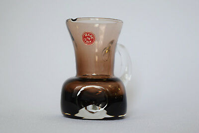 "Vintage Italian Art Glass Miniature 3.5"" Brown Cased With Clear Indented Pitcher"