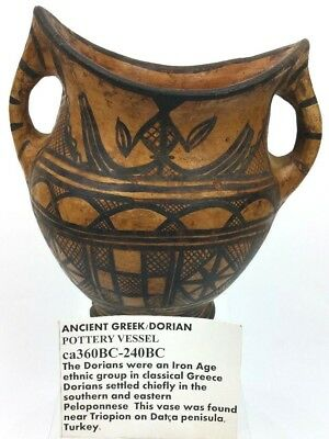 Ancient Greek Dorian Pottery Vessel Antique Turkey 360-240 BC