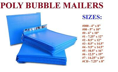 5-3000 Poly Bubble Mailers #000 #00 #0 #CD #1 #2 #3 #4 #5 #6 #7 BLUE BAGS SEAL