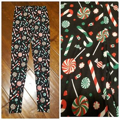 New PLANET GOLD Juniors S Small PJ Leggings Lounge Pant Black Candy Holiday