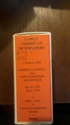 AMHERST JOURNAL & NEW HAMPSHIRE ADVERTISER 1-1795 -1-1796   1 micro film