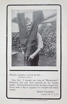 """1903 Ad(H21)~Messrs. Larned, Carter & Co. """"headlight"""" Railroad Overalls"""