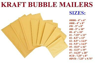 5-3000 Kraft Bubble Padded Envelope Mailers #000 #00 #0 #CD #1 #2 #3 #4 #5 #6 #7