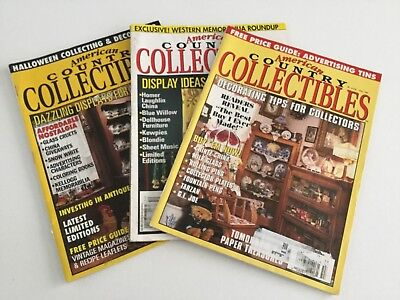 Lot of 3 American Country Collectible Magazines-1995, 1996.