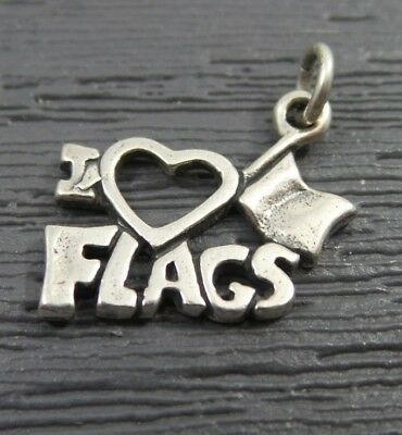 Vintage Sterling Sterling I Love Flags Six Flags ? Pendant Charm
