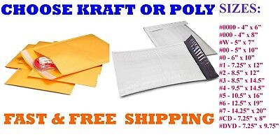 Kraft OR Poly Bubble Padded Envelope Mailers #000 00 0 CD 1 2 3 4 5 6 7 Mailing