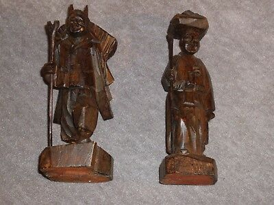 """Vintage Hand Carved Wooden Korean Couple. Fine traditional detail, 6"""" tall, 1986"""