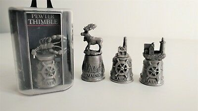 Lot of 4 State of Maine Pewter Souvenir Thimbles Moose, Lobster, Lighthouse