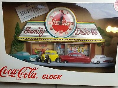 Plastic Coke Wall Clock Diner Design Battery Operated 1950