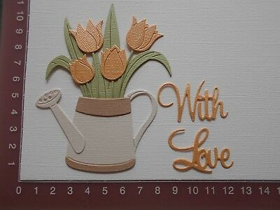 Die cuts - Watering can, Tulips, Flowers,  Words - With Love, Assembled kit (3)